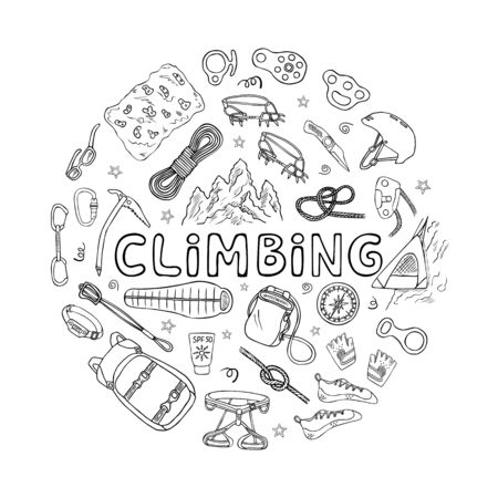 Mountain climbing or alpinism equipment and accessories doodle icons set. Hand drawn illustration