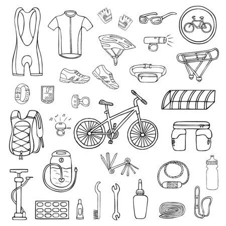 Satz von Hand gezeichneter Fahrradausrüstung und -kleidung lokalisiert auf Weiß. Gekritzelillustration von Fahrradwerkzeugen und -zubehör