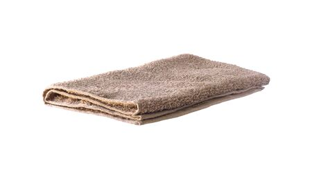 Side view of brown soft terry towel isolated on white Stock fotó