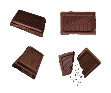 Set of top and side views of dark chocolate pieces isolated on white background