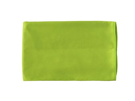 Top view of green microfiber towel for fitness, yoga, gym, etc. Sport accessory isolated on white background Stock Photo