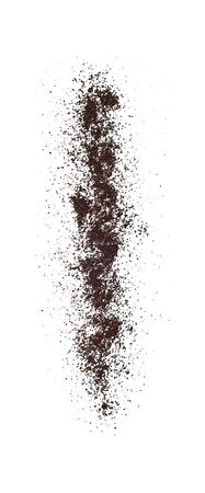 Falling ground coffee powder isolated on white background