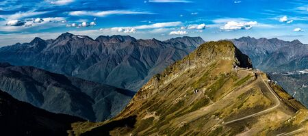 Panoramic view of Black Pyramid peak and Cirque-2 at Caucasus mountain ridge background in Gorky Gorod resort in Krasnaya Polyana, Sochi, Russia Zdjęcie Seryjne