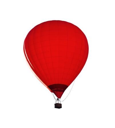Red hot air balloon with wicker basket isolated on white background