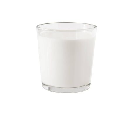 Side view of milk or other dairy product in glass transparent cup isolated on white background