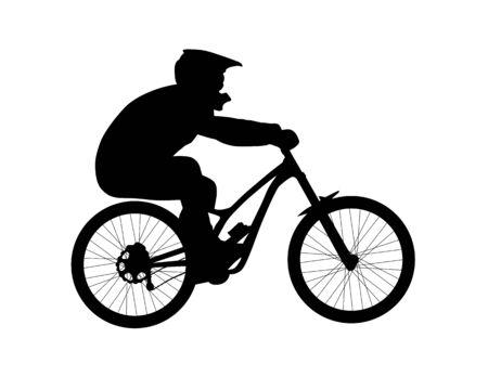 Silueta de ciclista montando bicicleta de montaña cuesta abajo. Ilustración de vector blanco y negro aislado sobre fondo blanco