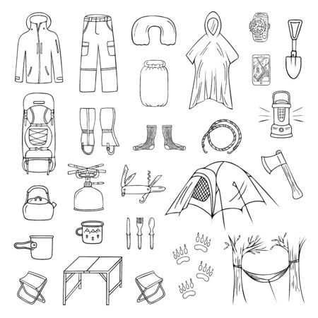 Set of doodle camping and trekking icons isolated on white background. Drawing of hiking equipment, accessories, clothes, etc. Black and white vector illustration Vetores