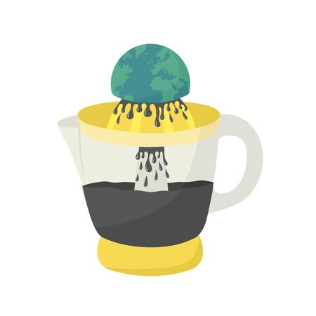 Planet Earth squeezing on juicer. Petroleum industry concept. Flat color vector illustration isolated on white
