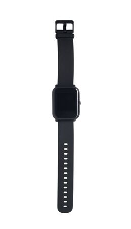 Top view of black smartwatch with empty touch screen display. Fitness tracker isolated on white background