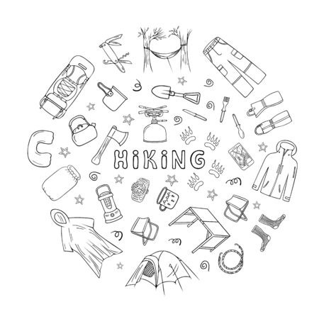 Drawing of camping equipment and clothes doodle icons set in circle frame with hiking text. Hand drawn black and white vector illustration