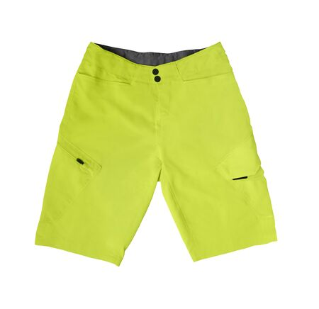 Top view of yellow sport shorts with pockets isolated on white background