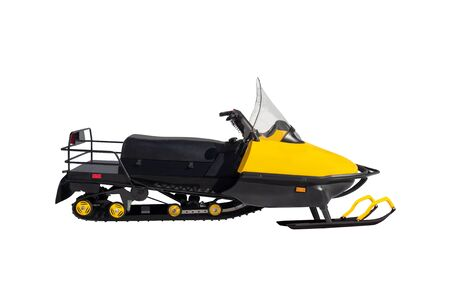 Side view of yellow snowmobile isolated on white background