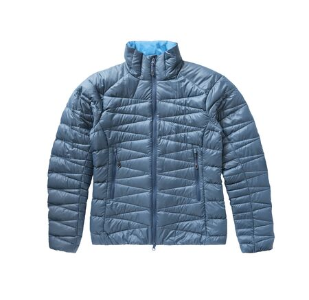 Top view of blue down jacket with zipper and pockets isolated on white background