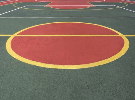 Game court with color lines and center circle. Sports field background