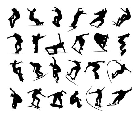 Set of skaters silhouettes jumping and making tricks on skateboard in skatepark. Black and white vector icons