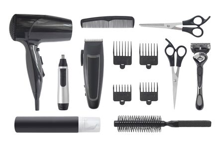 Top view of professional hairstyle and grooming kit isolated on white background. Hair clipper, hair dryer, combs and other hairdressing equipment