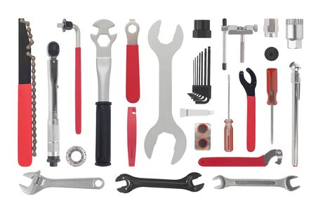 Top view of bike repair kit tools isolated on white background