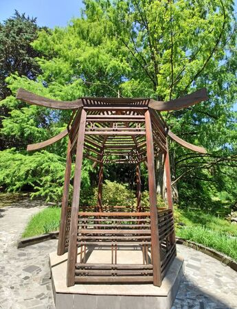 Wooden arbor in japan style in natural park at sunny summer day