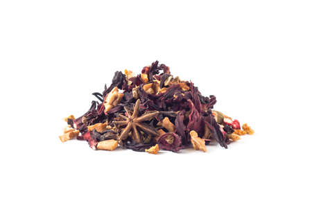 Heap of fruit and herbal tea with hibiscus dried leaves, citron peels, ginger, etc. isolated on white