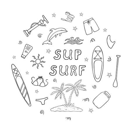 Stand-up paddleboard doodle icons set in circle frame with sup surf text. Hand drawn black and white vector illustration Stock Illustratie