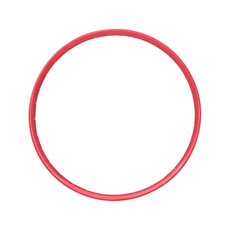 Red bicycle rim isolated on white background
