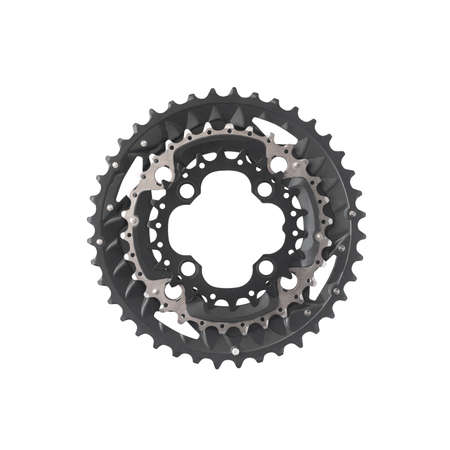 Bicycle chainset or crankset isolated on white background. Bike equipment