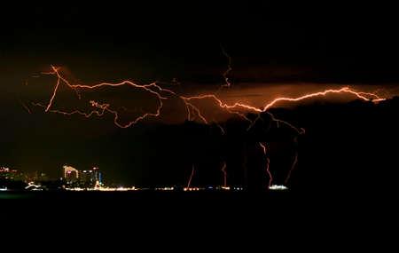 Panoramic view of lightning strike on night sky over city Stockfoto