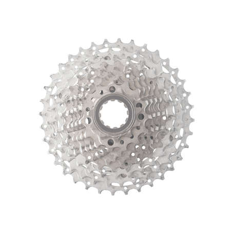 Top view of bicycle speed cassette isolated on white background