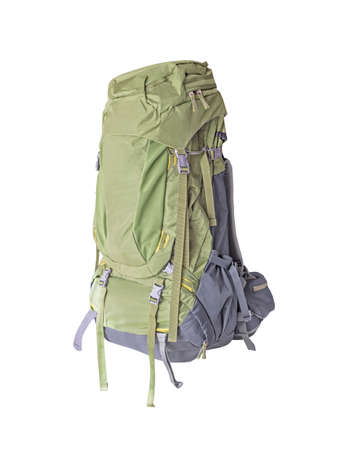 Side view of tourist backpack for mountain trekking isolated on white background