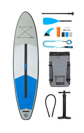 Set of inflatable stand up paddle board with accessories (carry bag, pump, fin, etc.)