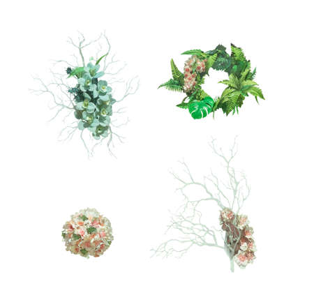 Set of flowers bouquet and wreath with tropical leaves isolated on white background Stockfoto