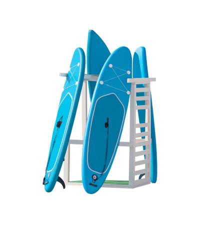 Storage rack system with stand up paddleboards isolated on white background 写真素材 - 158043597