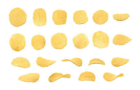 Set of top and side views of rippled potato chips isolated on white background