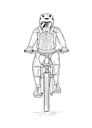 Line art drawing of man riding downhill mountain bike. Hand drawn vector illustration of bicyclist Ilustrace