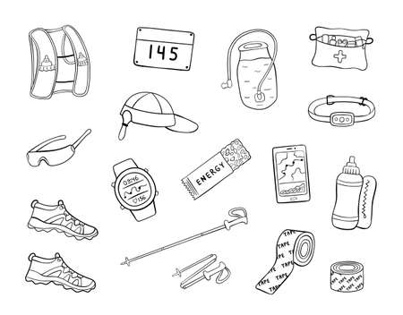 Set of hand drawn trail running equipment and accessories. Doodle vector illustration of shoes, hydration pack, trekking poles, etc. Иллюстрация