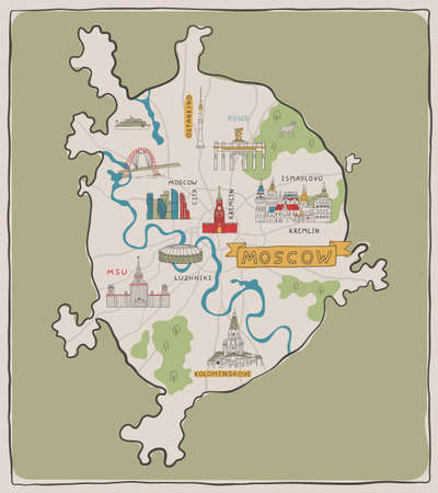 Hand drawn Moscow map with famous places and buildings. Color vector illustration