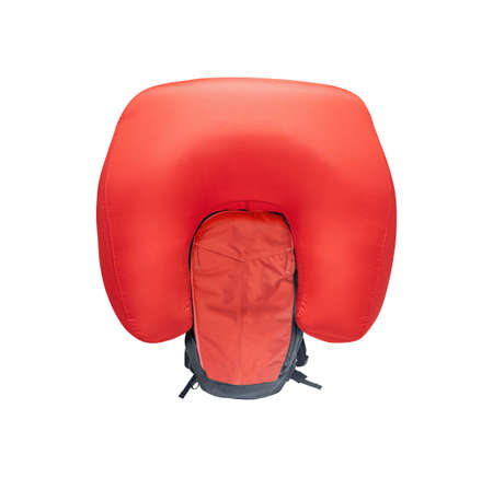 Inflated avalanche airbag backpack isolated on white background 免版税图像
