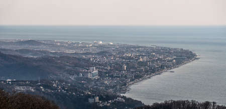 Panoramic aerial view of Adler coast and Black sea. Travel destination in Sochi, Russia
