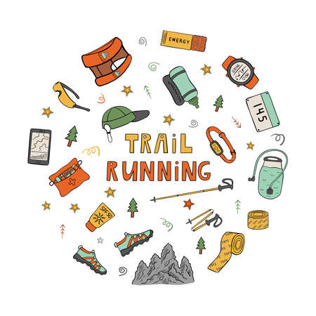 Color drawing of trail running equipment and accessories in round frame. Hand drawn icons in vector 矢量图像
