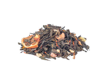 Mix of green tea leaves, dried orange and other fruits