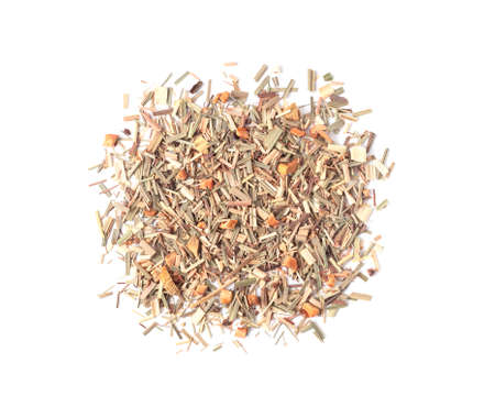 Green tea pile with lemongrass and dry fruits isolated on white