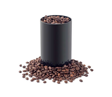 Electric coffee mill in coffee beans heap