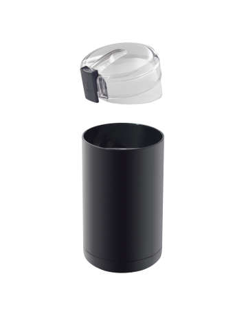 Black electric coffee grinder with cap isolated on white