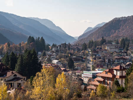 Panoramic view of Krasnaya Polyana village in mountains. Famous place in Sochi, Russia