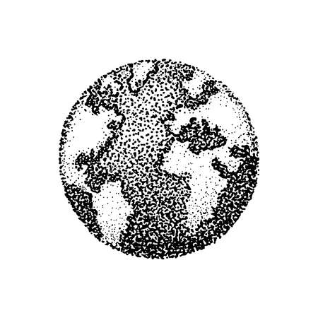 Ink stippling drawing of planet Earth. Vector illustration of dots in pointillism style