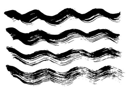 Curved brush strokes drawn with black ink. Wavy painted lines in vector 矢量图像