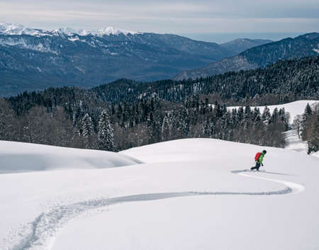 Active man riding snowboard on powder snow at mountains and wood background in Krasnaya Polyana resort in Russia