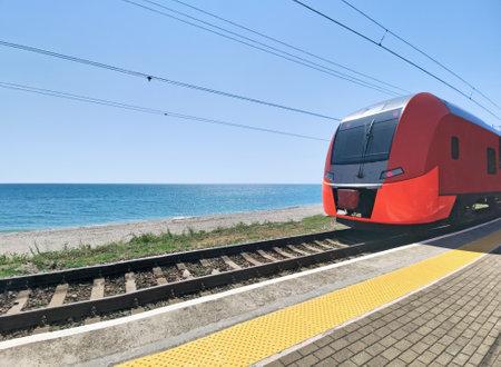 Modern electric train moving along sea coast