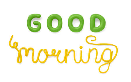 Good morning text made of plasticine and isolated on white 免版税图像