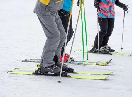 Lower body part of sport people skiing on snow 免版税图像